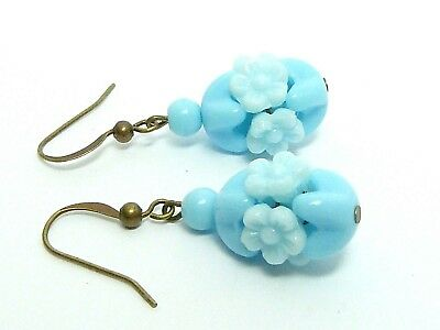 Vintage 1940s baby blue milk glass flower bead earrings to match old necklaces
