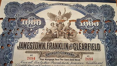 Jamestown, Franklin & Clearfield Railroad Bond Stock Certificate N.Y Central