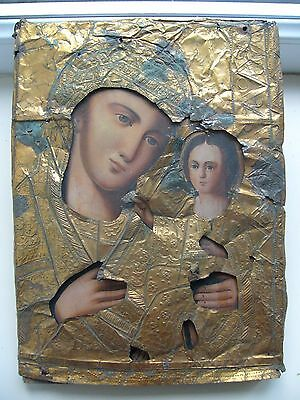 """Antique 19c Russian Print on Metall Wood Icon """"The Vergin of Tikhvin"""""""