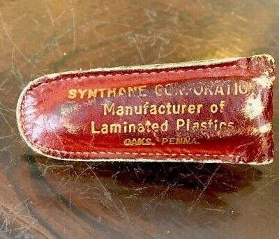 Vintages OAKS Pa Advertising Leather Nail Clipper Case Synthane Plastic Co