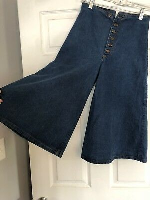 Vintage 70s Denim Culotte Clam Digger High Waist Shorts Very Cute Summer Fashion