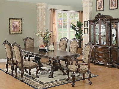 TURNER 7 pieces Traditional Cherry Brown Dining Room Set NEW Rect Table Chairs