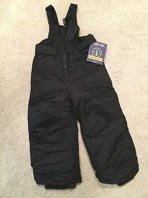 NWT Toddler Boys Cherokee Snow Bibs Pants Overalls NEW ~ Size 2T Black