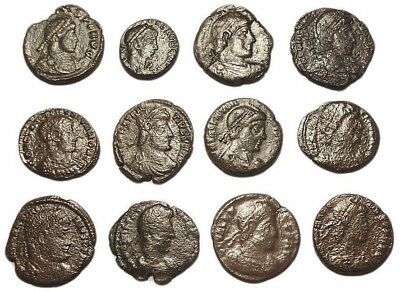 Lot of 12 Æ3-4 Ancient Roman Bronze Coins from IV. Century