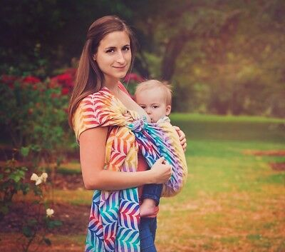 84bff70bd28 Tula Ring Sling Baby Carrier woven wrap conversion migaloo delight rainbow  SOFT