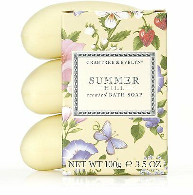 Summer Hill Scented Triple Milled Bar Soap, Crabtree & Evelyn, 100 gram 3 Bars