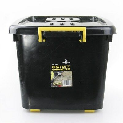 HEAVY DUTY Large Plastic Storage Containers with Lid Boxes Bins Tubs 55L free de