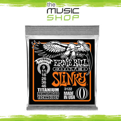 5 x Ernie Ball 3122 Coated Titanium Hybrid Slinky Electric Guitar Strings 9-46
