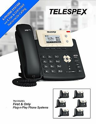 TELESPEX 6 Phones & Fax Hosted Phone System Package - Business Office VoIP PBX