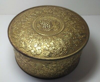 Vintage Guildcraft, New York, USA, Gold Tin, Collectible Tin, Grape Leaves, Gift