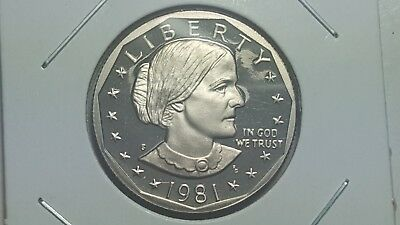 1981-S Proof Deep Cameo Type 2 Clear 'S' Not Flat Susan B. Anthony Dollar BU