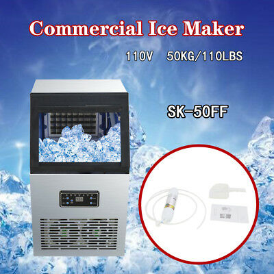 Ice Cube Machine Commercial Ice Maker 50kg Auto 110Lbs 230W 110V Stainless Steel