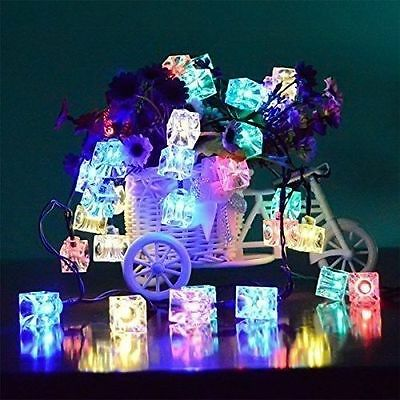 40 LED Multi Color Ice Cube String Fairy Lights Ornament Battery Operated
