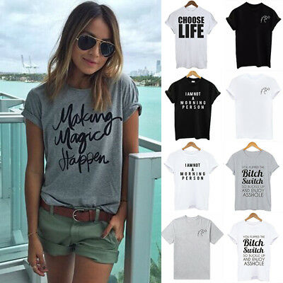 NEW Womens Letter Blouse T-Shirt Short Sleeve Casual Loose Tops Summer Plus Size