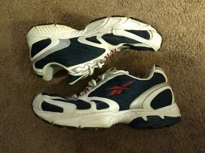 Vintage Reebok Trainers Men s Size 10.5 White Red Navy Blue Silver Pre-owned da3c59351