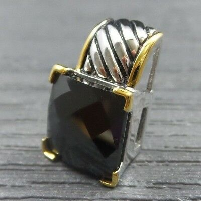 New Old Stock Sterling Silver Larger Black Square Cut Stone Gold Accent Pendant
