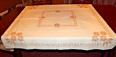 "Vintage Hand Made CROSS STITCH TABLECLOTH  Flowers Embroidered 49"" x 49"""