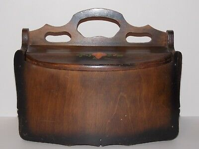 Antique Vintage Take Along Wood Sewing Box Center Handle Two Sided Top Opening