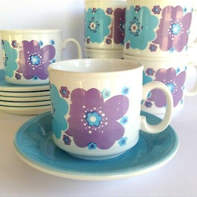 6 RETRO STAFFORDSHIRE  POTTERIES 60s 70s VINTAGE CUP & SAUCER DUOS BLUE & PURPLE