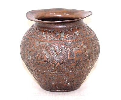 1850s Rare Old Antique Beautiful Hand Carved Design COPPER WATER Pot # 446