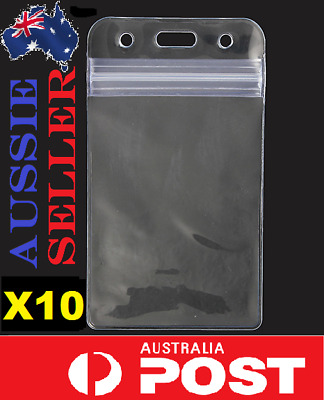 10x Quality Plastic Clear ID Card Holder Sleeve Pouch lanyard work AUSSIE SELLER