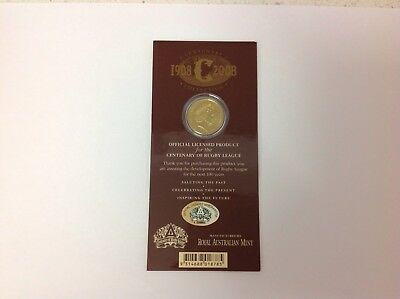 2008 Unc $1 Centenary Of Rugby League Coin On Card, Inspiring The Future.