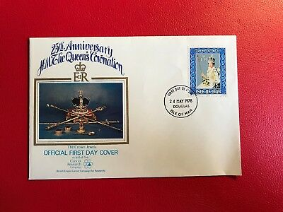 Isle Of Man Iom 1978 Fdc Queen Elizabeth Coronation Cancer Research Crown Jewels
