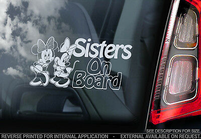 Sisters on Board - Car Window Sticker - Baby, Child, Minnie Mouse Decal Sign V02