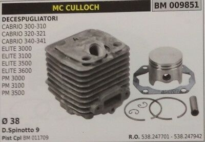 CYLINDRE PISTON COMPLET DÉBROUSSAILLEUSE McCULLOCH CABRIO 300 310 320 321 340