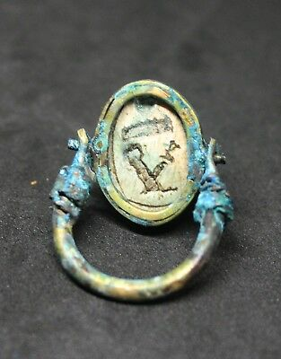 Antique Egyptian Faience and copper Scarab ring
