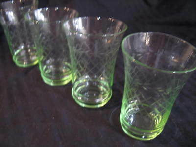 Set Of 4 Vintage cut green glass drinking Glasses 1940's gr8 shape strong colour