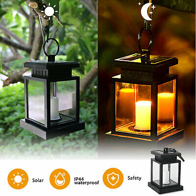 Waterproof Outdoor Solar Lantern Hanging Light LED Candle Yard Patio Garden Lamp