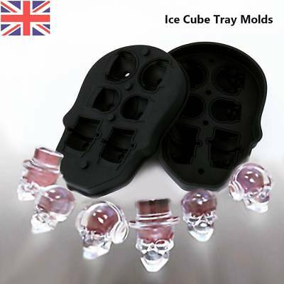 Silicone 3D Skull Shape Ice Cube Trays Mold Mould Cocktails Whisky Maker 6 plaid