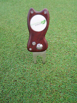 retractable golf divot / pitch tool world first from timber Natural colour