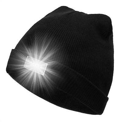 UK Unisex LED Beanie Hat With 5 LED Torch Light Cap Outdoor Camping Joggers Gift