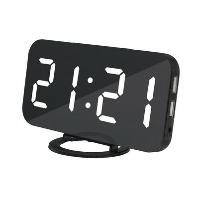 Digital LED Alarm Clock 2 Power Outlet USB Charging Port Phone Charger White