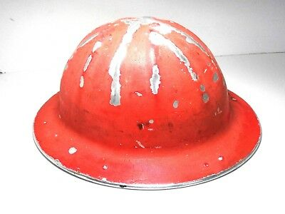 Vintage B.F. McDonald Co. Aluminum Hardhat with Liner Full Brim Chippy Paint