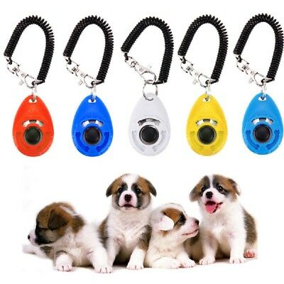 Pet Puppy Click Clicker Training Gehorsam Trainer Aid Handgelenk Strap 5  lsas