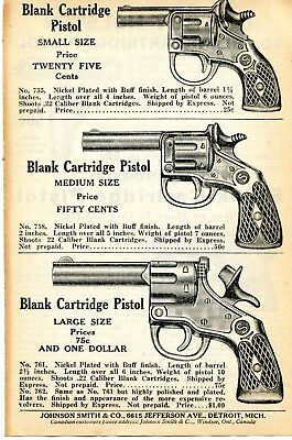 1940 PRINT AD of Blank Cartridge  22 Pistol Break Open Style