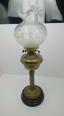 """Antique Vintage Victorian Large Brass Duplex Oil Lamp 28"""" Tall Electric"""