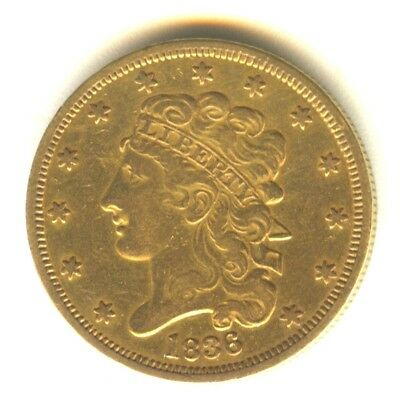 1836 Classic Head Half Eagle XF Scarce Early Gold Type Coin $5 Gold