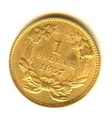 1857 $1 Gold Piece MS Nice Luster In Grade Early Gold Type Coin