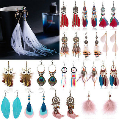 Boho Dreamcatcher Tassel Owl Long Drop Dangle Earrings Hook Womens Jewellery Hot