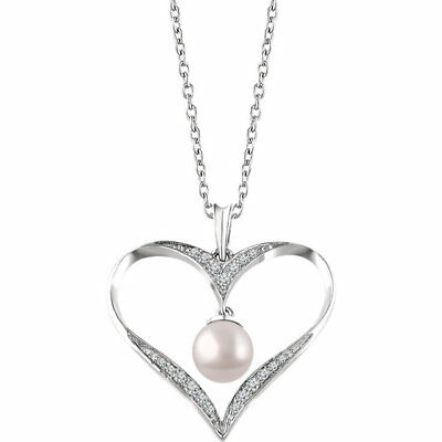 Freshwater Cultured Pearl & 1/6 cttw Diamonds Heart Necklace 925 Sterling Silver