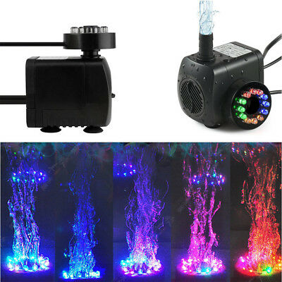 Electric Fountain Water Pump With 12 LED Light Pond Garden Pool Submersible Pump