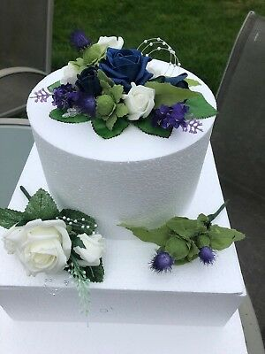Scottish Wedding Triple Cake Topper  Navy & Ivory Rose & Thistle & Lavender