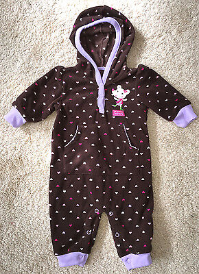 e7e7bb22a Carters Baby Girls 3 Months Brown Mouse Fleece Hooded One-Piece Outfit