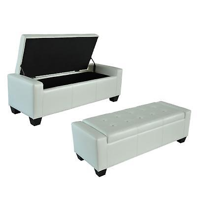 White Storage Bench Double Footrest Footstool Seat Pu Leather Foot Box Ottoman