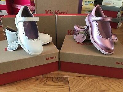 Girls Designer Kickers Mary Jane Patent Leather Shoes - Lachly Pink/White BNIB