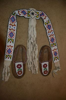 Native American Sioux Tribal Beaded Ceremonial Sash + Hand Beaded Moccasins 1930